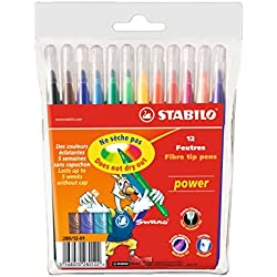 Rotulador escolar STABILO Power - Estuche con 12 colores