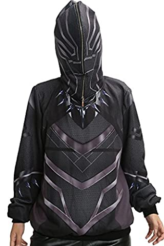 Costume Civil War Black Panther - Hommes Zip Hooded Sweat à Capuche Cosplay