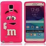 Hot Pink Funda para Samsung Galaxy Note4 Note 4 Note IV, Suave y Elástico Delgado Prima Silicona, Dibujos Animados Estilo Modelado Flexible Carcasa para Samsung Galaxy Note 4, Samsung Galaxy Note 4 Case Cover