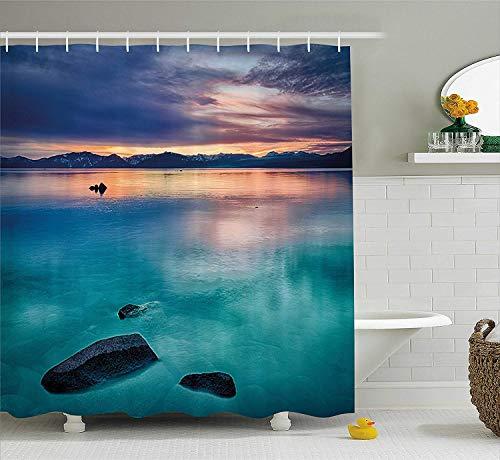 SRJ2018 Landschaft Duschvorhang Felsen Wolken in Lake Tahoe Sierra Nevada Kalifornien USA Kunst Stoff Badezimmer Dekor Set mitblau grau himmelblau und türkis -