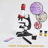 Tiptiper Kit per microscopio per principianti, kit per microscopi Lab LED 100X-1200X per giocattoli educativi per bambini domestici