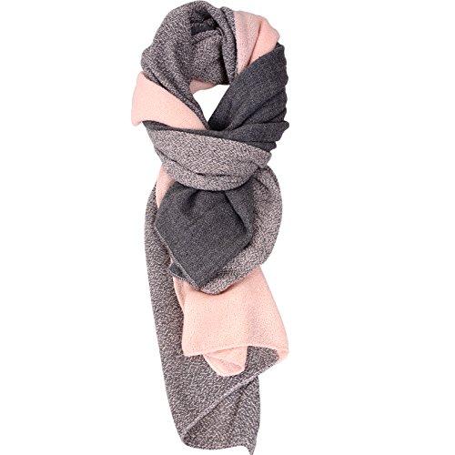 Damen der Frauen Cashmere Gefällt Herbst/Winter Splicing Design Schal Wraps Stola Halstücher (rosa)