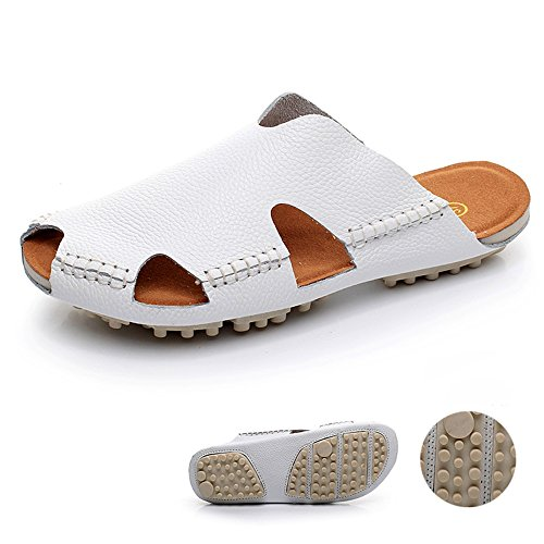 Pantoufles à bascule mâle / femelle Chaussons Baotou Chaussures à chaussures de couple Chaussures de plage (Noir / Marron / Rose / Rouge / Blanc / Jaune) ( Couleur : Noir , taille : EU42/UK8.5/CN43 ) Blanc