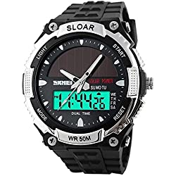 Sijueam Men's Casual Solar Powered Digital & Analog Multifunctional Climbing Dive 50m Waterproof Sport Wrist Watch