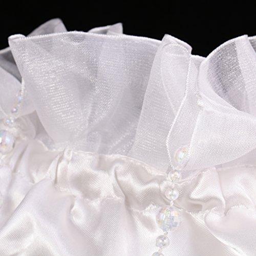 Blesiya Brautbeutel, Brauthandtasche mit Organza-Blumen, Hochzeit, Kommunion Weiß - #1