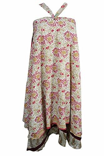 Mogul Innen Damen Wrap Rock Reversible Zwei Schicht Seide Sari Magic Wrap Kleid, White-1, Waist: Opens to 42