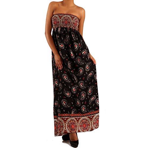 Damen Maxikleid Hippie Bandeau Long Dress Strandkleid Schwarz/Mehrfarbig