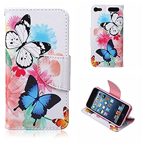 iPod Touch 5th / 6th Generation Case , BoxTii® Flip Wallet Slim Case + Free Tempered Glass Screen Protector, Premium PU Leather Case Cover with Magnetic Clip Card Slots and Stand, Elegant Anti-Scratch Shock-Absorption Folding Folio Flip Wallet Case for Apple iPod Touch 5th / 6th Generation (#6 Butterfly)