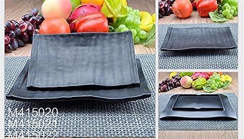 CHENXXOO-mélamine imitation de haute qualité de vie bac en porcelaine résistante aux éclats steak barbecue rôtissoire noir table de l'hôtel hot pot plat de plaques 20.5*12.5*2.5cm