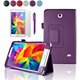"SAVFY Samsung Galaxy Tab 4 7.0 7-inch Leather Case Cover and Flip Stand, Bonus: + Screen Protector + Stylus Pen + SAVFY Cleaning Cloth (for Galaxy Tab 4 7"" INCH T230/T231/T235, WiFi or 3G+WiFi) (flip stand PURPLE)"