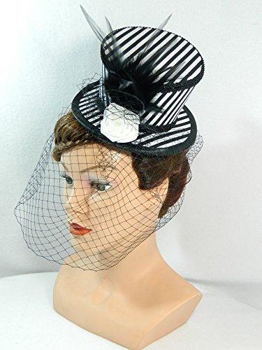 Mini Zylinder schwarz weiß Streifen Damenhut Hut Fascinator (Kleid, Derby Hut)