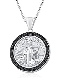 "Silvernshine 1.35 Ct Round Black Liberty Coin Pendant 18"" Chain In 14K White Gold Fn"