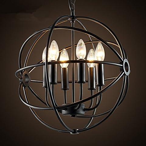 FEI&S American retrò industriale paese nordico lampadario Creative Circle Ciondolo lampada lampadario in ferro battuto il ristorante bar con un diametro di 50cm,con il migliore