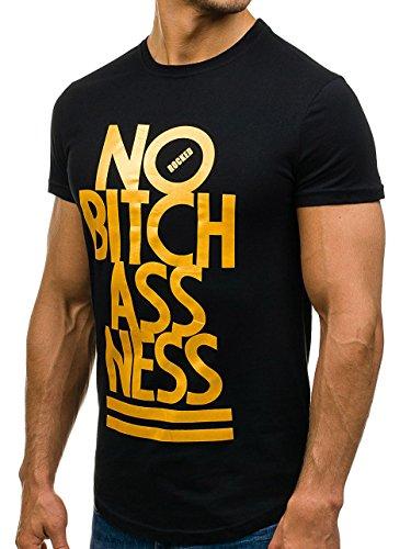BOLF Herren T-Shirt Tee Kurzarm Army Camo Aufdruck Print 3D Slim fit 3C3 Motiv Schwarz_S149
