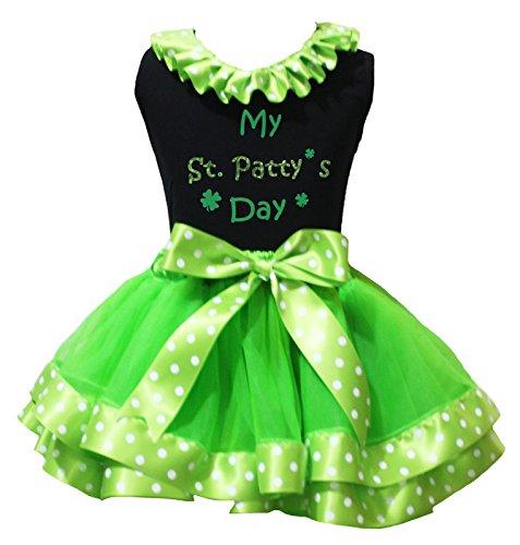 Petitebelle Mein st.patty Tag Hemd Grün-weißen Punkte Petal Rock Nb-8J 3-12 Monate Schwarz