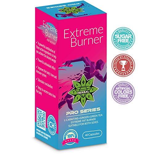Cvetita Herbal,Extrem Fettverbrenner 40 Kapseln,Extreme Fat Burner,Eine Innovative Formel L-carnitin + Grüner Tee + Ingwer,Natürlicher Gewichtsverlust,Starkes Antioxidans,Unterstützt den Stoffwechsel