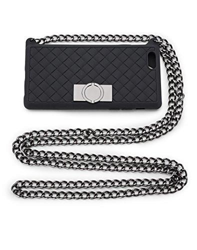 iPhone 6 Hülle Silikon zum Umhängen (4,7 Zoll) | Handyhülle | weiche Schutzhülle Schale Bumper | Schutz vor Staub und Scratch | Case für iPhone | Black & Dark Grey Kate O.JACKY