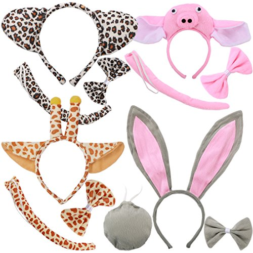 Kilofly 4 imposta orecchio bambini animal fascia bowtie coda fumetto del partito del costume favors