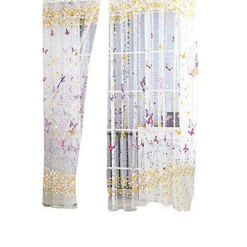 Prosperveil, tenda in voile con stampa floreale e farfalle, plissettata in tulle, tenda per finestra, per soggiorno, camera da letto, camera dei bambini, rose red, 100 x 270 cm