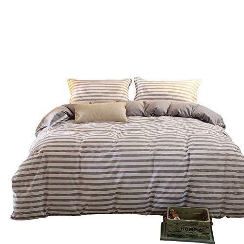 zhimian wendbar 3Stück Gestreift Print Bettbezug Set mit Reißverschluss (1Bettbezug + 2Kissenbezüge:), Ultra Weich, Mikrofaser, grau, Queen (Bettdecke, Kissen Einfügen)