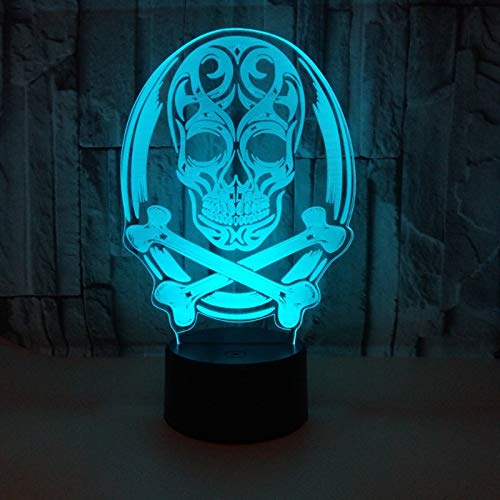 Lanbba 3D-Nachtlicht 3D Des Stilleben 3D Der Neuen Note Des Halloween-Schädels Bunte Stereotischlampe