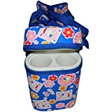 Chhote Saheb Multi Purpose Baby Diaper Mother Bag With 2 Bottle Holders - Keep Baby Bottles Warm - Assorted Prints (Dark Blue)