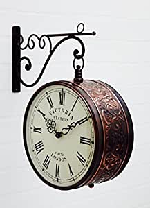 Medieval India Victoria Station Double Side Metal Clock-Roman & Numbers (Dial Size: 10