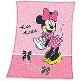 Disney Minnie Mouse 130 x 160 cm - Manta polar manta de forro polar, rosa, para niños, diseño de Minnie Mouse