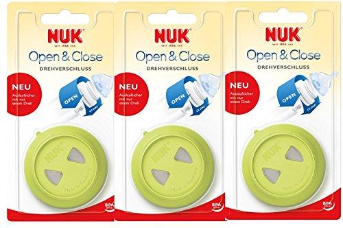 NUK 10256140 Drehverschluss, für First Choice Babyflaschen, BPA-frei, auslaufsicher, 3er Pack (3 Stück), grün
