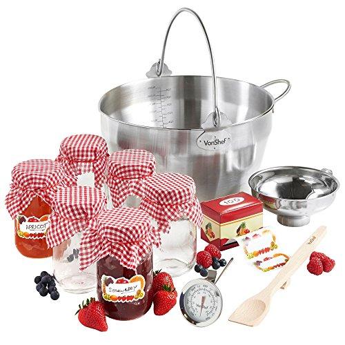 VonShef 9 Liter Marmeladentopf- Schüssel zum Kochen von Marmelade mit 10 Teilen als Starterpacket - Kochen Topf