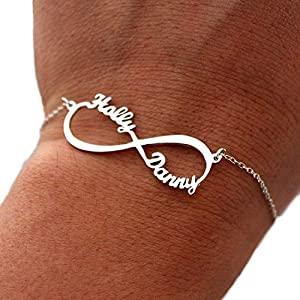 Silber Infinity Armband mit Namen- Personalisiert mit Ihrem eigenen Wunschnamen!