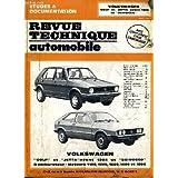 "Revue technique automobile. volkswagen ""golf"" et ""jetta"" avant 1984 et ""scirocco"""