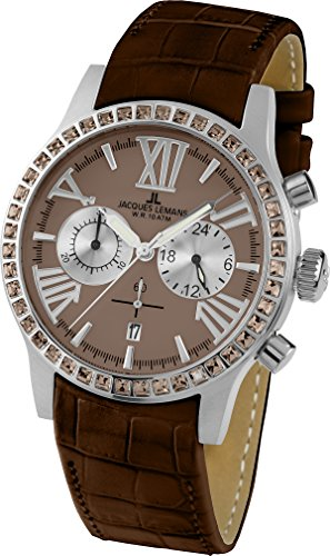 Jacques Lemans Ladies Watch Porto 1–1810C Analogue Display and Gold Leather