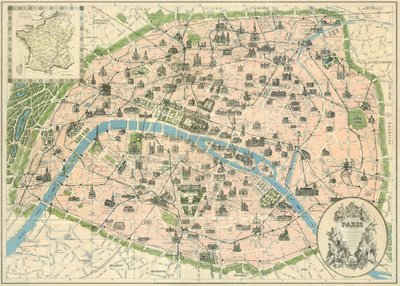 Reproduction d'art 'Vintage Paris Map', Taille: 69 x 51 cm