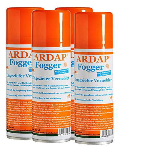 4 x 200 ml Ardap FOGGER Das ORIGINAL! Ungeziefer Vernebler gegen Insekten/ Flöhe