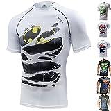 Khroom Hochwertiges Herren Funktionsshirt | Perfekt für Fitness & Gym - Kompressionsshirt im stylischen Helden Design (Batman weiß, L)