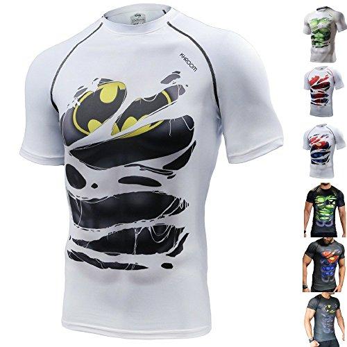 Khroom Hochwertiges Herren Funktionsshirt | Perfekt für Fitness & Gym - Kompressionsshirt im stylischen Helden Design (Batman weiß, S)