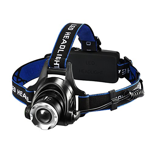 Litom Kopflampe USB wiederaufladbare LED Stirnlampe Zoom Kopfleuchte 4 Modi mit 1600 Lumen Helligkeit Wasserdicht für Camping Wandern Angeln Jagen usw.(2 x 18650 Lithium-Ionen Akku enthalten)