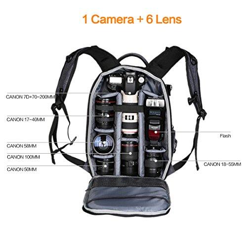 "Imagen de k&f concept   para equipo fotográfico para cámara objetivos trípode ordenador pórtatil de 13.3"", tamaño 44*16*29cm alternativa"