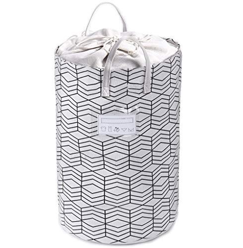 Xinfu home, grande cesto portabiancheria, pieghevole, con coulisse, impermeabile, rotondo, in cotone e lino, con manico, 40 x 60 cm, white with tips card, 15.8