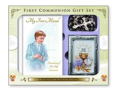 My First Holy Communion Gift Set For A Boy - My First Missal - Black & Gold Rosary & Photo Frame