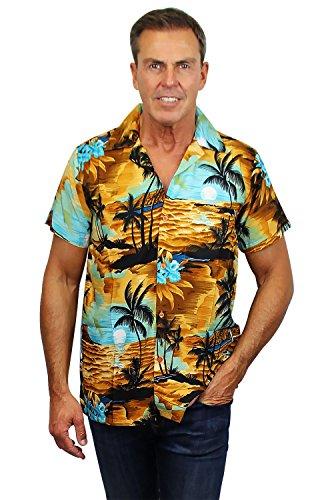 Funky Hawaiihemd, Kurzarm, New Surf, Hellorange, S (Surf-grafik)