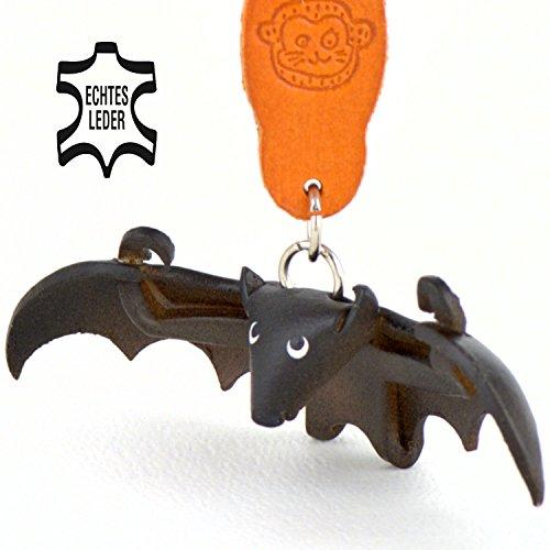 Monkimau Fledermaus Dracula Leder Schlüssel-anhänger Deko-Figur Charm-s Kinder Mädchen Geschenk-e Kuscheltier Stofftier schwarz 5cm klein