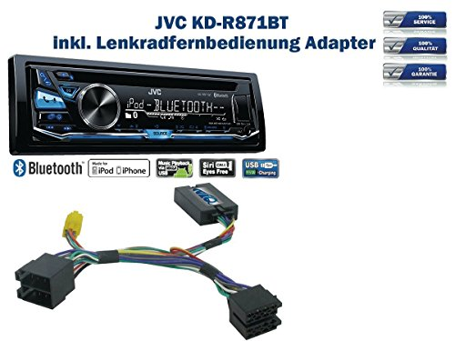JVC KD-R871BT inkl. Lenkrad Fernbedienung Adapter Dacia Duster & Sandero Bj. 2010 - 2012