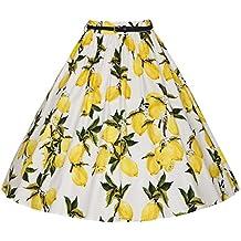 Moollyfox Mujer Vintage Falda Estampado de Limón 50s Retro Audrey Hepburn Cintura Alta Vestido de Cóctel