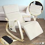 SoBuy® Sillón de relax, Mecedora, Sillón de diseño, Butaca de madera, FST19-W,ES