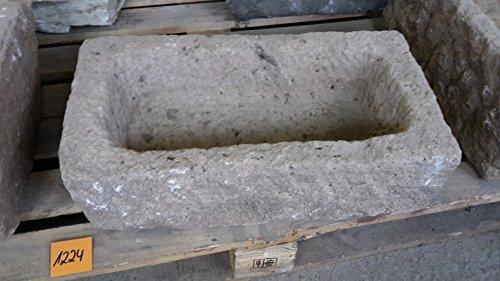 Der Naturstein Garten Alter Trog aus Granit 48 cm lang Brunnen Steintrog - G1224 Granittrog Waschbecken