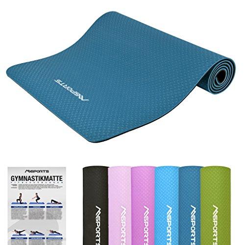 MSPORTS Gymnastikmatte Yoga-Premium inkl. Übungsposter 183 x 61 x 0,8 cm | Hautfreundliche – Phthalatfreie Fitnessmatte Yogamatte