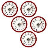 Lantelme 5 Stück Set rundes Bimetall Analog Klebe Kühlschrankthermometer Kunststoff Farbe rot 4400