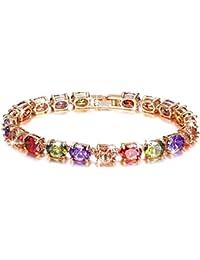 Yellow Chimes Splendid Show AAA GradeSwiss CZ 18K Rose Gold Plated Bracelet for Women and Girls